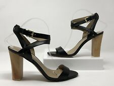 "Julianne Hough for Soleciety Womens 4"" Heels Black Leather Sandals Size 9"