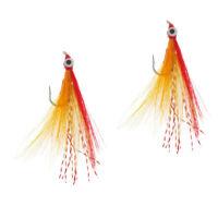 2pcs Saltwater Flies Clouser Minnow Fly Fishing Flies for Bass Carp Redfish