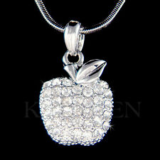 w Swarovski Crystal ~JUICY APPLE Fruit Charm pendant Chain Necklace Xmas Jewelry