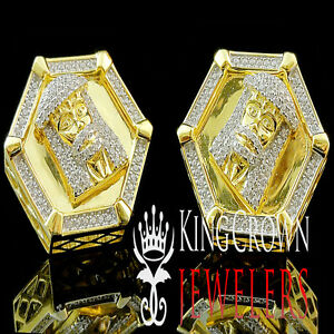 14k Yellow Gold On Real Silver Big Look Rapper Style Jesus Face Earring Studs
