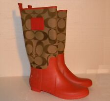 COACH Paige Rain Boots Orange (Brick) 10 M Mid-Calf Brown Logo Signature