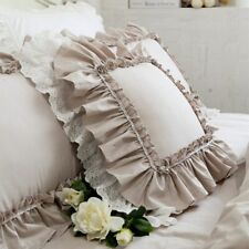 New Khaki Embroidery Cushion Cover Ruffle Lace Pillow Cover Bedding Pillowcase