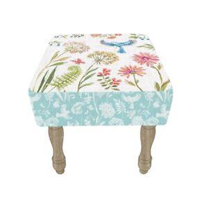 All Chic Handmade Cushioned Stool Wood Legs Flower Pattern Home Bird