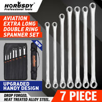 7Pc Aviation Long Spanner Set Double Ring Wrench 10-24mm Latest Pouch Heavy Duty