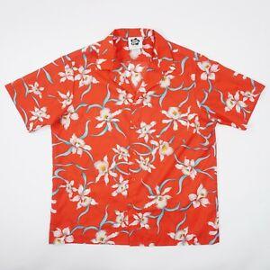 Vintage Hilo Hattie Mens XL Red Teal Floral Pocket Aloha Shirt Made USA