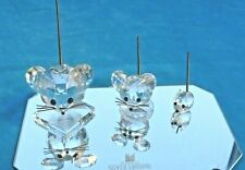 Graduated Collection of 3 Swarovski Crystal Mice with Metal Tails & Mirror