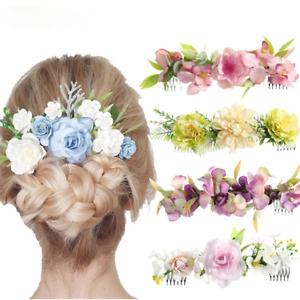 Fabric Flower Hair Fork Hair Comb Wedding Bride Flower Beach Hair Accessories