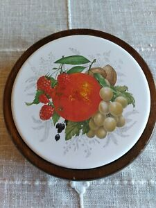 Vintage Ceramic Wood Trivet Fruit Oranges Grapes Raspberries Kitchen Country