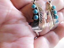 Chaco Canyon Hand made silver leaf earrings with sleeping beauty turquoise.1 3/4