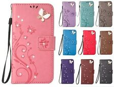 Luxury Pretty Embossed Bling Strass Flip PU Leather Wallet Case Cover For Phone