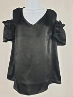The Limited Womans Peep Shoulder Black Blouse NWT Size Medium Short Sleeve