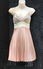 REVIEW Soft Tones Sweet Pleat Detailing Cross Bodice Strappy Dress sz 8