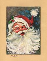 VINTAGE CHRISTMAS MODERN RETRO SANTA CLAUS SMILE IMPRESSIONSM ART GREETING CARD