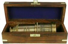 Nautical Antique Solid Brass Marine Telescope Pirate Spyglass With Wooden Box