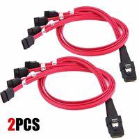 2PCS Internal Mini SAS (SFF-8087) to 4x SATA 7-Pin F Forward Breakout Cable 50CM
