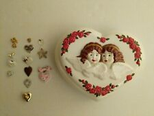 and lrg. ceramic heart container Vintage heart pins, brooches, pendants