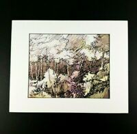 Jonas Gerard Lithograph or Print Matted to 11 x 14 Art is 8 x 10 Trees or Forest