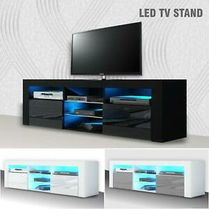 Modern TV Unit Cabinet Stand - Matt body and High Gloss Doors FREE LED light