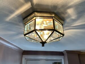 Two vintage Art Deco ceiling lights - Brass & Glass