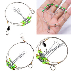 1PCS Fishing Hooks Stainless Steel Swivel String Hook Rigs Leader Fishing Tool