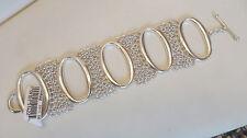 "Michael Dawkins Sterling Openwork Chain Link Bracelet FITS 7"" WRIST"