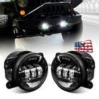 "Pair 4"" LED Round Fog Lights Front Bumper Driving Lamps for Jeep Wrangler JK JT"