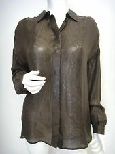 GUCCI Designer Blouse fits M/L 100%silk brown metallic Made in Italy 1250$ !!