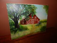 Amish Farm: Buggy, and Amish Red Barn. Original oil Painting in mint condition.
