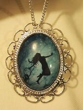 Lovely Scalloped Rim Lady Floating Sea of Dreams Silvertn Pendant Necklace Pin
