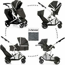 NEW HAUCK DUETT 2 DOUBLE TANDEM TWIN PUSHCHAIR PRAM BUGGY TRAVEL SYSTEM+CARSEAT