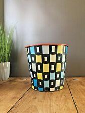 More details for super retro 60's 70's shape harlequin squares tin waste paper bin worcester ware