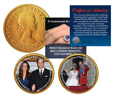 ROYAL WEDDING * Prince William & Kate * British Half Penny 24K Gold 2-Coin Set