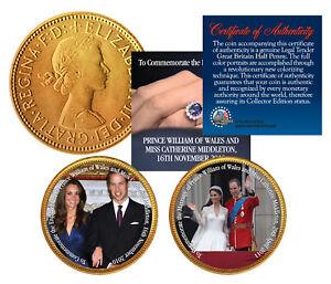 ROYAL WEDDING * Prince William & Kate * British Half Penny 24K Gold 2-Coin Set
