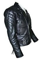 Boys/Girls Leather Jacket Motorcycle Quilted Kids Brando Biker Jacket (4-13 Yrs)