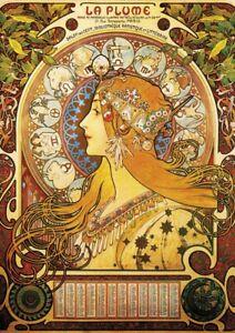 Alphonse Mucha - A4 size 21x29.7cm  QUALITY Decor Canvas Print Poster Unframed