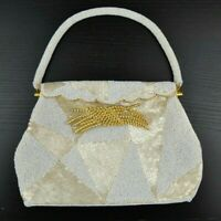 Vintage 60s Beaded White Gold Hardware Hinged Top Bag Purse Clutch Hong Kong