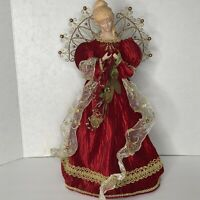 """16"""" HOLIDAY ANGEL CHRISTMAS TREE TOPPER RED & GOLD Ornate Silky Table Decor"""