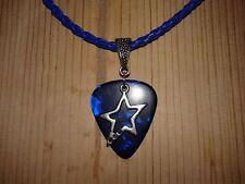 Guitar Pick Necklace - Blue Pick / Star Charm / Royal Blue Cord