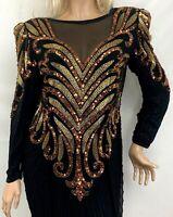 Vtg AJ Bari Womens Evening Gown Silk Beaded Long Sleeve Dress Black Gold Size 14