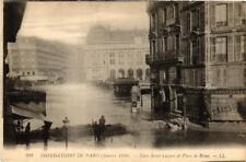 CPA PARIS Gare Saint-Lazare et Place de Rome INONDATIONS 1910 (605658)