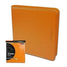 BCW ORANGE Gaming Card Z-Folio Zippered LX Leatherette Album with 12 Pocket Page