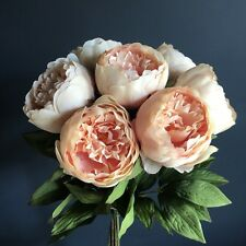 Bunch of 7 Realistic Artificial Peach Peonies, Luxury Faux Silk Peony Flowers