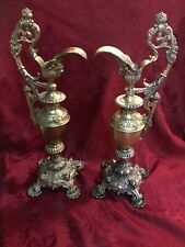 Antique Victorian Brass Ewers Ornate Garniture Pair Lions Head