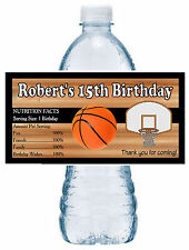 20 BASKETBALL BIRTHDAY PARTY FAVORS WATER BOTTLE LABELS ~ waterproof ink