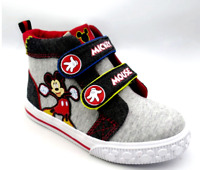 NWT - Disney Mickey Mouse Toddler Boys Gray Knit High Top Sneakers - 9 or 10