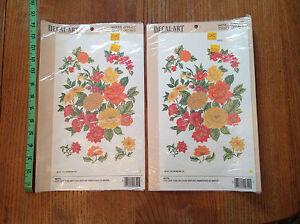 NOS VTG 1981 GOLD ORANGE RED FLOWERS GREEN Retro Meyercord Decal Art 0322 - 2