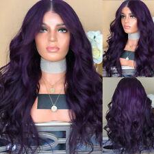 UK Womens Ladies Dark Purple Long Curly Wigs Natural Body Wavy Hair Cosplay Wig