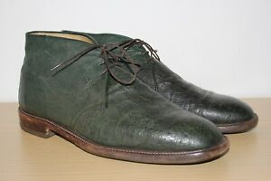 Real Ostrich Desert Boots Shoes Hand made in Italy UK 12 IT46 US 13