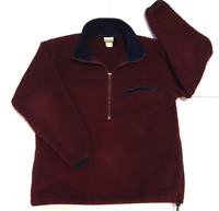 LL Bean Womans Long Sleeve 1/4 Zip Fleece Pullover Maroon Size Medium