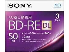 3 Sony Bluray Inkjet Printable Rewritable BluRay Disc BD-RE DL 50GB Blank Discs